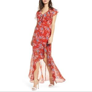 NEW WAYF Floral Red Maxi Dress